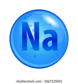 Mineral Sodium or Natrium capsule. Vector icon for health. Blue shining vitamin pill.