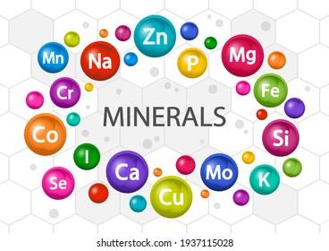 Mineral supplement set. Multivitamin complex for health. Vitamin icons. Calcium Magnesium Zinc Iron Iodine Manganese Cobalt Copper Potassium Molybdenite Chromium Silicon Selenium. Vector illustration