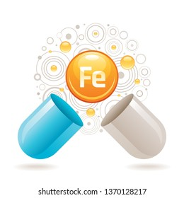 Mineral vitamin Iron supplement for health. Capsule with Fe element icon, healthy diet symbol. 3d color ball isolated on white background. Trendy vector illustration, medical minerals supply concept
