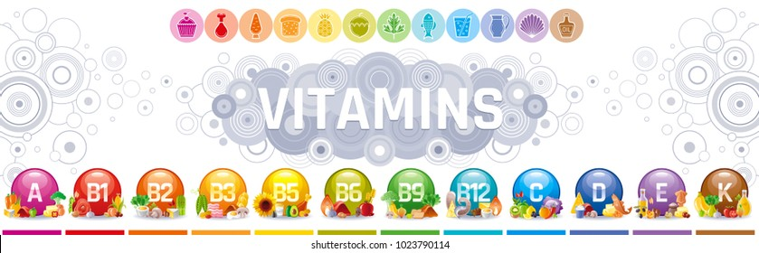 Mineral Vitamin multi supplement icons. Multivitamin complex flat vector icon set, logo isolated white background. Table illustration medicine healthcare chart Diet balance medical Infographic diagram