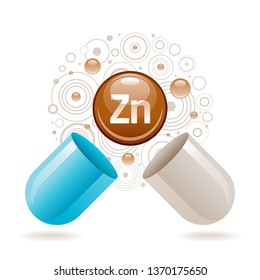 Mineral vitamin Zinc supplement for health. Capsule with Zn element icon, healthy diet symbol. 3d color ball isolated on white background. Trendy vector illustration, medical minerals supply