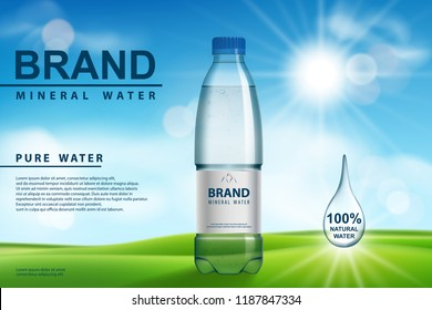 Mineral water ad, plastic bottle with pure mineral liquid on sunny background. Transparent Drinking water Bottle design. 3d vector illustration.