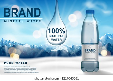Mineral water ad, plastic bottle with pure mineral liquid on snow with mountain background. Transparent Drinking water Bottle design. 3d vector