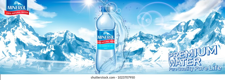 Mineral water bottle with pure liquid isolated on spectacular snow mountain background in 3d illustration