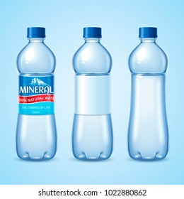 Mineral water bottle set, water containers mockup template design in 3d illustration, some with labels