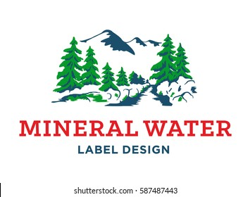 Mineral water label design - vector illustration