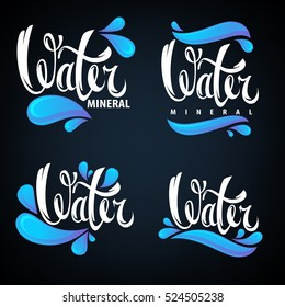 mineral water, lettering composition, labels and stickers templates with aqua drops and text