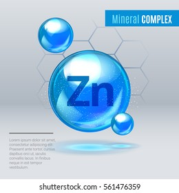 Mineral Zn Zink blue shining pill capcule icon . Mineral Vitamin complex with Chemical formula . Shining cyan substance drop. Meds for heath ads. Vector illustration