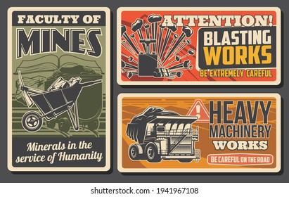 Minerals mining industry retro banners. Dynamite detonator for rock break, haul truck and wheelbarrow with pickaxe and coal. Faculty of mines, blasting and heavy machinery works attention warning sign