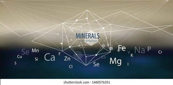 Minerals / Modern scientific research. Abstract structural network. The future is science. Chemistry, physics, medicine.