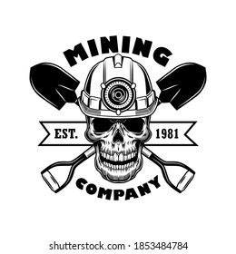 Miners skull vector illustration. Head of skeleton in helmet with torch, crossed shovels and text. Coal mining industry concept for emblems and badges templates