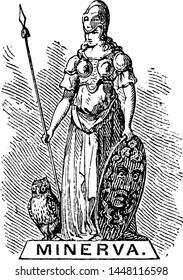Minerva vintage engraved illustration drawing.