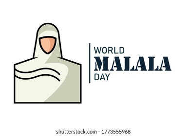 Mingora, Pakistan - July 12, 2020: World Malala Day, Malala Yousafzai flat abstract logo, hijab women icon, poster, illustration vector