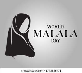 Mingora, Pakistan - July 12, 2020: World Malala Day,  Malala Yousafzai, black and white background, poster, illustration vector