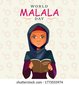 Mingora, Pakistan - July 12, 2020: World Malala Day, Malala Yousafzai, women reading book, education, poster, illustration vector