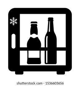 Mini bar fridge vector icon isolated on white background