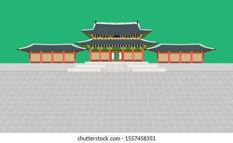 mini building and long wall and large courtyard at changedoekgung palace in seoul south korea vector illustration eps10