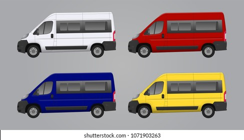 Mini bus, car van vector illustration template for car branding and advertising. Isolated city mini van on grey. Vector car illustration. Passenger car bus, van vector, mini van, template blank bus.