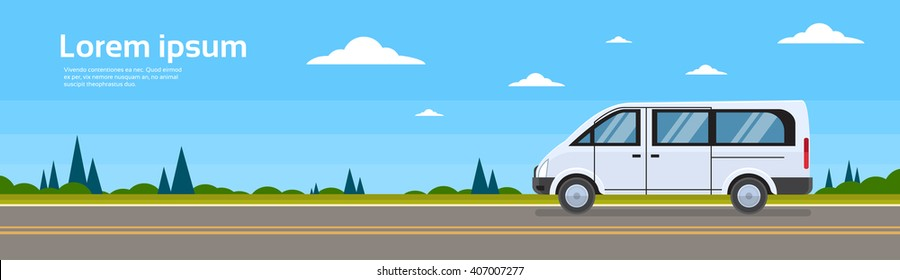 Mini Bus Passenger Car On Road Minibus Banner Flat Vector Illustration