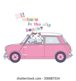Mini Car  with cat   illustration