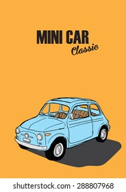 mini car classic in yellow background