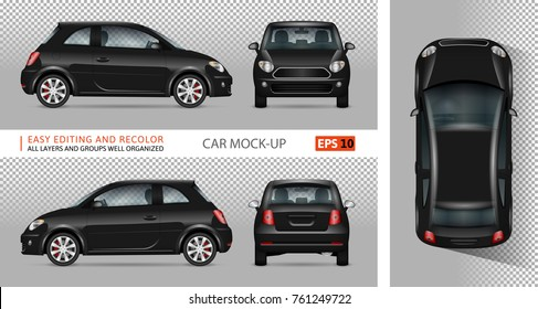 Mini car vector mock-up for advertising, corporate identity. Isolated black minicar template on transparent background. Vehicle branding mockup. View from side, front, back, top.