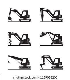 Mini construction machinery - vector illustration