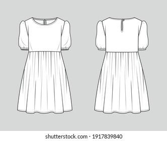 Mini dress. Fashion sketch. Vector illustration. Flat technical drawing. Mockup template.