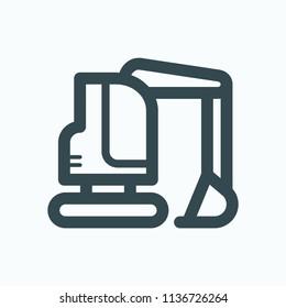 Mini excavator icon, mini crawler excavator vector icon