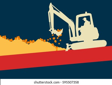 Mini excavator with worker inside cabin working in construction site vector background