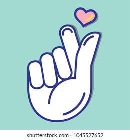 Mini finger heart in flat design style vector icon. Asian symbol hand heart.from the hands of a heart. Korean, Chinese and Japanese Symbol hand heart.