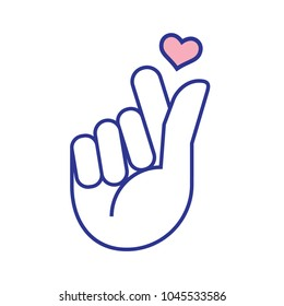 Mini finger heart in mono line style vector icon. Asian symbol hand heart. from the hands of a heart. Korean, Chinese and Japanese Symbol hand heart.