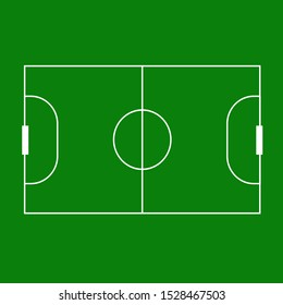 Mini football field isolated on green background