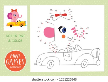 Mini games collections. Dot to dot and color the picture. A pink elephant is going by car.