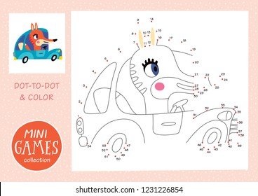 Mini games collections. Dot to dot and color the picture. A fox is going by car.