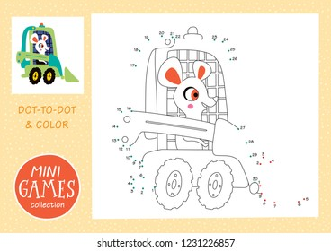 Mini games collections. Dot to dot and color the picture. A white mouse is going by tractor.