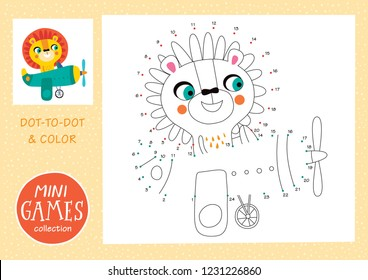 Mini games collections. Dot to dot and color the picture. A lion is going by airplane.