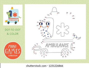 Mini games collections. Dot to dot and color the picture. A snake is going by ambulance.