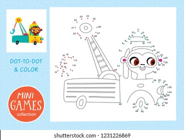 Mini games collections. Dot to dot and color the picture. A monkey is going by tow truck.
