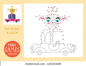 Mini games collections. Dot to dot and color the picture. A giraffe is going by car.
