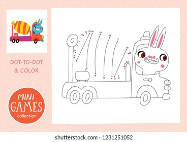 Mini games collections. Dot to dot and color the picture. A rabbit is going by concrete mixer truck.