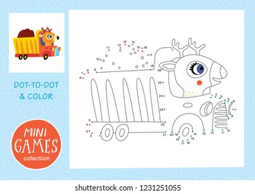 Mini games collections. Dot to dot and color the picture. A deer is going by truck.