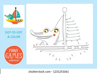 Mini games collections. Dot to dot and color the picture. A crocodile is yachting.
