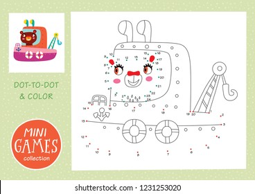 Mini games collections. Dot to dot and color the picture. A bear is going by boat.