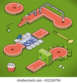 Mini golf course collection with hedge and pond handicap on a lawn (isometric illustration)