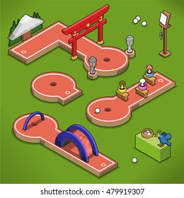Mini golf courses with Japanese gate, bridge and mushroom handicap on a lawn (isometric view)