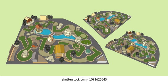 Mini Golf Courses perspective, Vector & Illustration