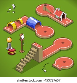 Mini golf courses with stairway handicap and tunnels on a lawn (isometric view)