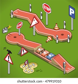 Mini golf courses with traffic signs and car stunt jump on a lawn (isometric illustration)