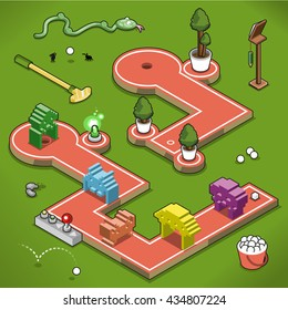 Mini golf courses with video game alien tunnels and trees on a lawn (isometric illustration)